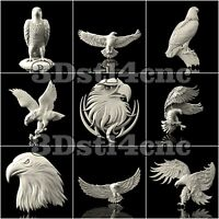 9 3D STL Models Eagle Hawk Set for CNC Router Carving Machine Artcam aspire