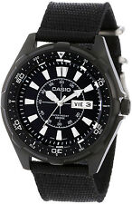 Casio Mens Black Dial Nylon Band 100M Diver's Day Date Watch AMW-110-1AV NEW