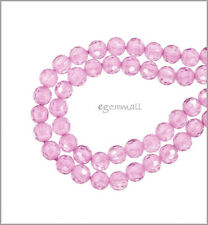 16 Cubic Zirconia Round Beads 4mm Pink #64758