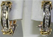 14K WHITE GOLD .42 CARAT DIAMOND OMEGA HOOP EARRINGS