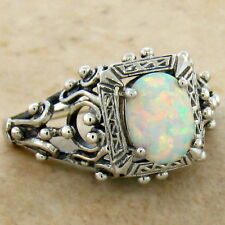 Sterling Silver Ring Size 10, #583 White Lab Opal Antique Victorian Design 925