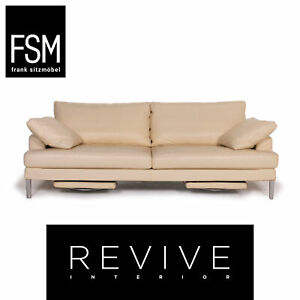 FSM Clarus Leather Sofa Cream Three-Seater Function #14730