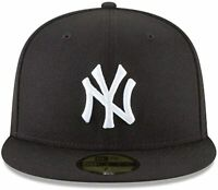 New Era New York Yankees Basic 59Fifty Fitted Cap Hat Black/White 11591127