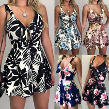 Womens Floral Jumpsuit Romper Holiday Summer Casual Shorts Playsuit Sundress Lot