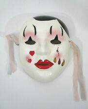 Vtg Porcelain Pottery Face Glazed Face Mask Painted Woman Red Lips Wall Display