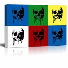 """wall26 - Canvas Wall Art - Multi-Color Pop Art with Skull - 24"""" x 36"""""""