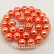 12mm Glass Faux Pearls - pack of 30 round pearl beads - choice of 30+ colours