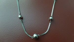 Long Silver Tone Necklace with Balls