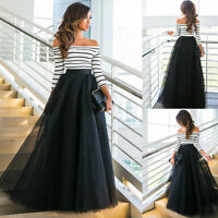 Women Formal Evening Party Lace Cocktail Bridesmaid Wedding Prom-Gown Long Dress