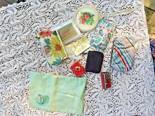 LARGE COLLECTION VINTAGE 1900's - 1950's MAKE UP BAGS COIN PURSES HANKIE SLEEVES