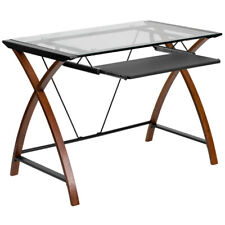 Computer Desk with Clear Tempered Glass Top, Keyboard Tray & Metal Frame