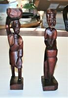 Vintage African Wooden Figurines Hand Carved Wood Sculptures Woman & Man