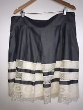 Ann Taylor Chambray Skirt With Lace Bottom Size 16 NEW