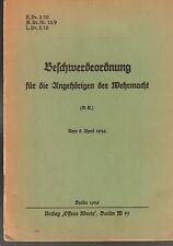 H.Dv.3/10 Beschwerdeordnung für die Angehörigen der Wehrmacht. Original 1936
