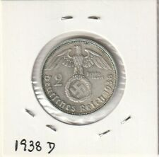Germany 2 Mark with Swastika 1938D Silver coin