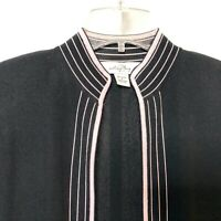 Ming Wang Small Cardigan Sweater Open Front Long Sleeve Stretch Black Pink