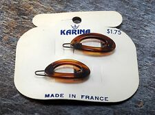 Vintage Hair Barrette Pair NOC Karina Made in France Oval Wire Snap Clasp