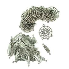 120pcs Feather Leaf & Dream Catcher Charms Connectors DIY Jewelry Finding
