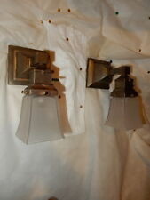 Simple Mission Style Arts and Crafts Brass Sconces With Frosted  Etched Shades
