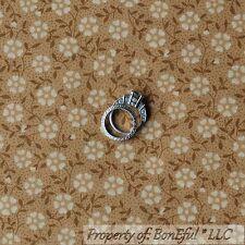 BonEful Fabric FQ Cotton Quilt Brown Tan White Flower Dot Colonial Williamsburg