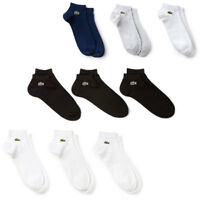 Lacoste Mens 2019 RA1163 Low Cut Plain Sport Socks 3 Pack