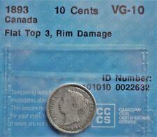 1893 FT3 Canada 10 cents CCCS VG-10 *Rim Damage