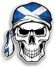 Skull With HEAD Bandana & Scotland Scottish Saltire Flag vinyl car sticker decal