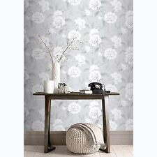 BOUTIQUE FLORAL WALLPAPER ROLLS GREY - RASCH 226188 FLOWERS