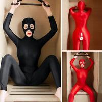 Women Zipper Lycra Zentai Party Costume Bodysuit Unitard Jumpsuit Bodyhose