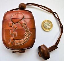 Antique Vintage Japanese Inro Netsuke Hand Carved Wood - Magic Mallet Motif