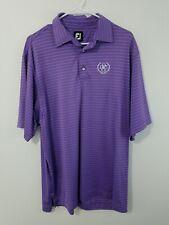 Footjoy FJ Purple Striped Polo Golf Shirt Mens Large Derby County Club