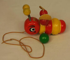 """Vintage Walter BUMBLE BEE with LEATHER Wings 6"""" WOODEN Pull Toy W. GERMANY"""