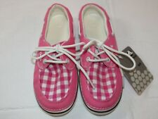 Womens crocs Hoover Boat Gingham Hot Pink canvas loafer shoes W 6 boat shoe *^