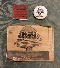 The Allman Brothers Band April 30, 1973 Concert Tix Stub, Newspaper Ad & Button