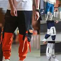 Men's Side Pockets Cargo Harem Pants Hip Hop Casual Tactical Jogger Trouser