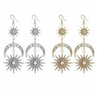 Elegant Star Hook Women Crystal Dangle Moon Long Rhinestone Gold/Silver Earrings