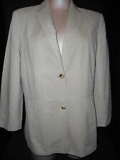 Women's Jaeger Blazer Coat Jacket USA Size 12-14 /UK 14 Beige Cotton