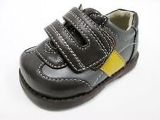 SEE KAI RUN BABY BOYS BROWN GRAY YELLOW LEATHER STRAP DRESS SHOES SZ: 3 NEW