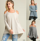 New UMGEE Open Cold Shoulder Trapeze Swing Boho Long Tunic Sweater Top S M L