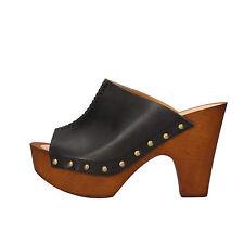 scarpe donna OLGA RUBINI 37 EU sandali nero pelle AF638-C