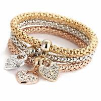 Fashion Women 3Pcs/SET Gold Silver Rose Gold Bracelets Rhinestone Bangle Jewelry