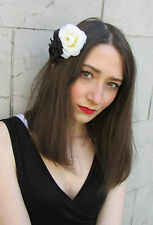 Noir & Blanche Ivoire Rose Camellia Fleur Peigne À Cheveux Vintage
