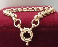 18ct 18K Yellow gold belcher bolt ring chain solid womens mens bracelet 18cm