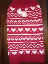 Dog Sweater Size L Red With White Heart Patterns And White Fluffy Bow