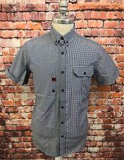 BECK & HERSEY Shirt Size Medium Short Sleeve Check Blue & White