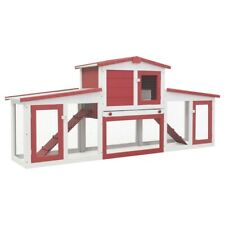 """Outdoor Large Rabbit Hutch Red and White 80.3""""x17.7""""x33.5"""" Wood"""
