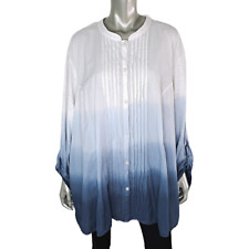 Catherines Womens Beaded Top Plus Size 5X 34W 36W Ombre 100% Cotton Tunic Blue
