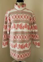 Victoria's Secret Medium Country 1/4 Zip Pullover Pink Tan Sweater Vintage (AN)