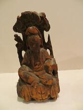 Antique Estate Wood Buddah Figure Seated Hand Carved One Piece Wood Good Karma