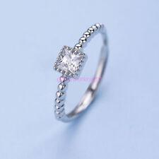 925 Solid Sterling Silver Adjustable Open Band CZ Index/Mid/Little Ring Finger